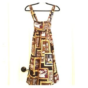 J.Crew vintage print dress with crossed straps.